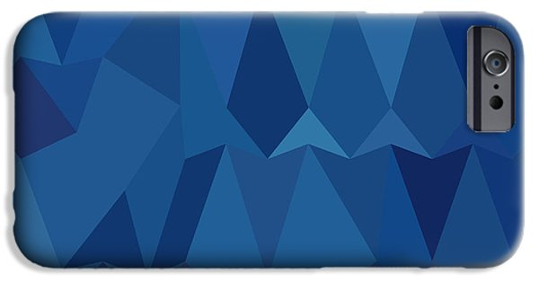 Mosaic iPhone Cases - Cobalt Blue Abstract Low Polygon Background iPhone Case by Aloysius Patrimonio