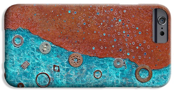 Hardware Mixed Media iPhone Cases - Cobalt Current iPhone Case by Phyllis Howard