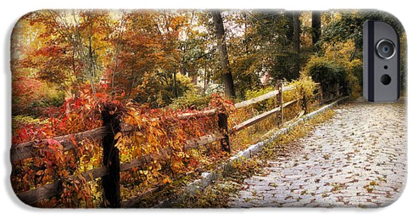 Autumn Road iPhone Cases - Cobbestone Climb iPhone Case by Jessica Jenney