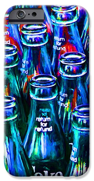 Wing Tong Digital iPhone Cases - Coca-Cola Coke Bottles - Return For Refund - Painterly - Blue iPhone Case by Wingsdomain Art and Photography