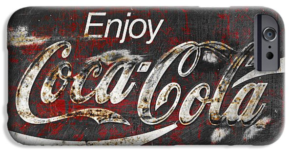 Rust iPhone Cases - Coca Cola Grunge Sign iPhone Case by John Stephens