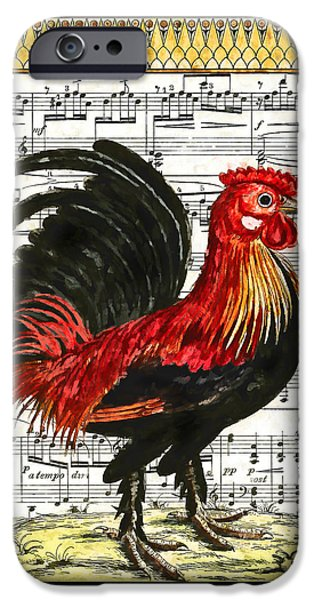 Sheets Drawings iPhone Cases - Cock-a-doodle-do iPhone Case by John K Woodruff