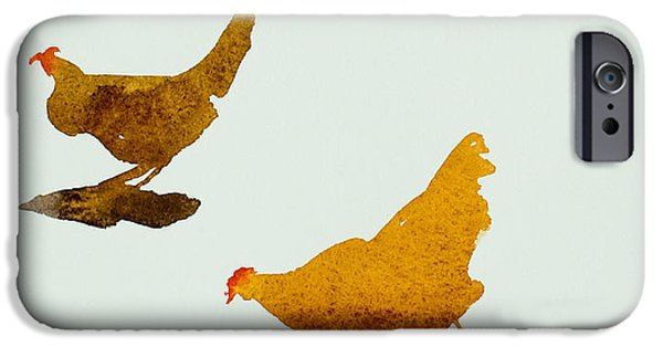 Birds iPhone Cases - Cock and three hens iPhone Case by Simon Fletcher