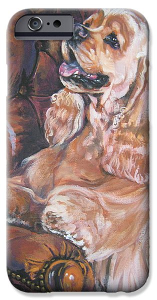 Cocker Spaniel on chair iPhone Case by L A Shepard