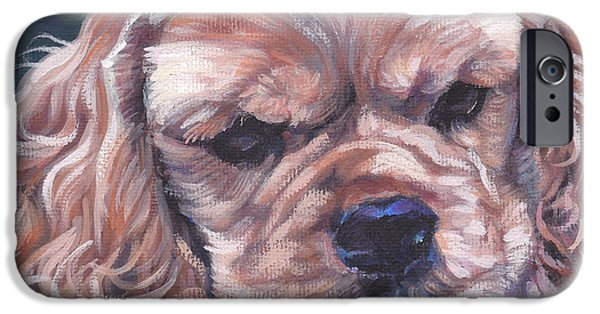 Cocker Spaniel Paintings iPhone Cases - Cocker spaniel puppy iPhone Case by Lee Ann Shepard