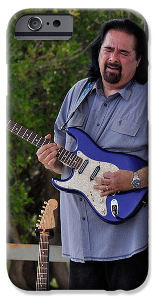 Autographed iPhone Cases - Coco Montoya and his Ocean Blue Fender American Standard Stratoc iPhone Case by Ginger Wakem