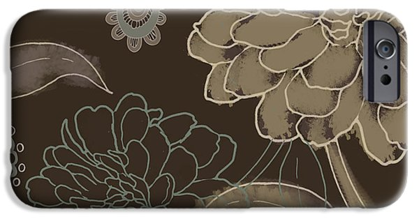 Earth Tone Paintings iPhone Cases - Cocoa Paisley II iPhone Case by Mindy Sommers