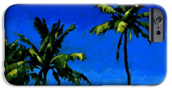 Hawaii Islands iPhone Cases - Coconut Palms 5 iPhone Case by Douglas Simonson