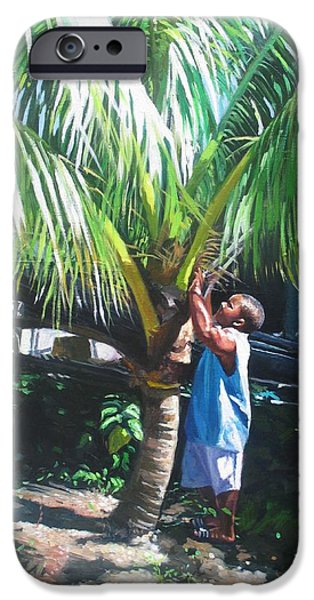 Fruit Tree Paintings iPhone Cases - Coconut Shade iPhone Case by Colin Bootman
