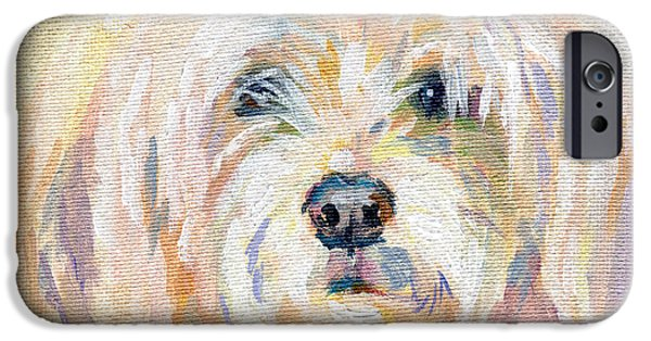 Pastel Paintings iPhone Cases - Cody Dog iPhone Case by Kimberly Santini
