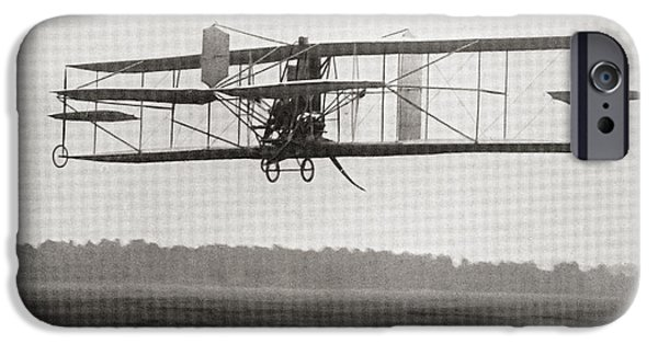 Franklin Drawings iPhone Cases - Cody S Biplane In The Air In 1909 iPhone Case by Ken Welsh