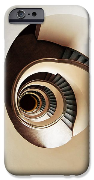 Concept Art iPhone Cases - Coffee and milk spiral staircase iPhone Case by Jaroslaw Blaminsky