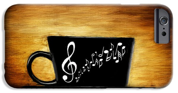 Cafe Au Lait iPhone Cases - Coffee And Music iPhone Case by Lourry Legarde