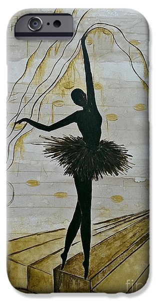 Piano iPhone Cases - Coffee Ballerina iPhone Case by AmaS Art