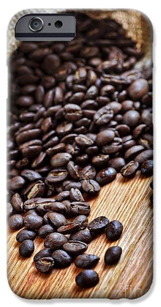 Macro iPhone Cases - Coffee beans iPhone Case by Elena Elisseeva