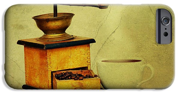 Old Grinders iPhone Cases - Coffee Mill And Cup Of Hot Black Coffee iPhone Case by Michal Boubin