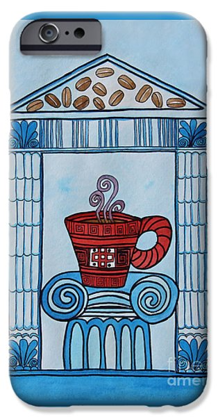 Appleton Art iPhone Cases - Coffee Palace Blue iPhone Case by Norma Appleton