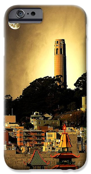 Buildings Mixed Media iPhone Cases - Coit Tower and The Empress of China Under The Golden Moonlight iPhone Case by Wingsdomain Art and Photography