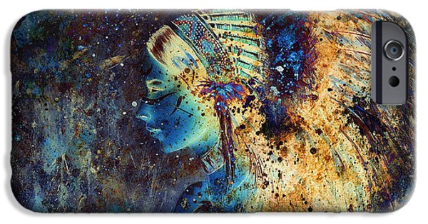 Native American Spirit Portrait iPhone Cases - Collage Painting Of A Young Indian Wcollage Painting Of A Young Indian Woman Wearing A Gorgeous Feat iPhone Case by Jozef Klopacka