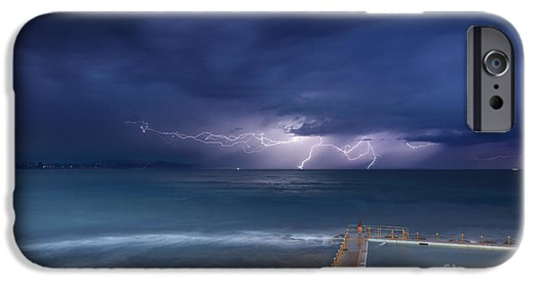 Electrical iPhone Cases - Collaroy storms and lightning iPhone Case by Leah-Anne Thompson