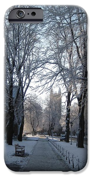 Boston iPhone Cases - Colleg in Winter iPhone Case by Justin Guardiani