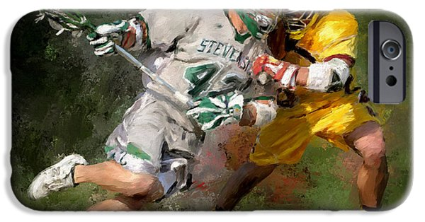Scott Melby iPhone Cases - College Lacrosse 8 iPhone Case by Scott Melby