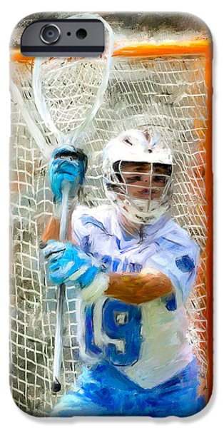 Scott Melby iPhone Cases - College Lacrosse Goalie iPhone Case by Scott Melby