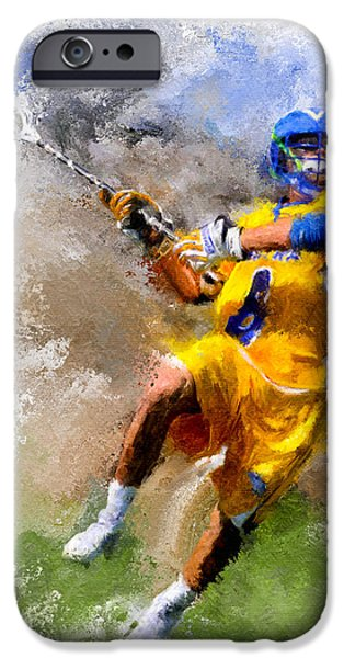 Scott Melby iPhone Cases - College Lacrosse Shot iPhone Case by Scott Melby