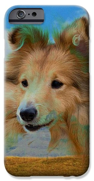 Dogs iPhone Cases - Collie And Landscape iPhone Case by Annie Zeno