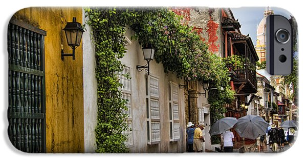 Culture iPhone Cases - Colonial buildings in old Cartagena Colombia iPhone Case by David Smith
