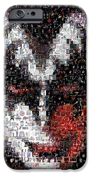 Recently Sold -  - Mosaic iPhone Cases - Color KISS Gene SImmons Mosaic iPhone Case by Paul Van Scott