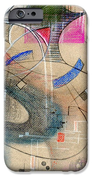 Colored Pencil Abstract iPhone Cases - Color Pencil Abstract On Pastel Paper iPhone Case by Genevieve Esson