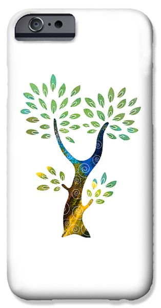 Spiral Mixed Media iPhone Cases - Color Tree iPhone Case by Frank Tschakert
