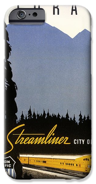 Old Cars iPhone Cases - Colorado and the Streamliner City of Denver - 1936 iPhone Case by Mountain Dreams