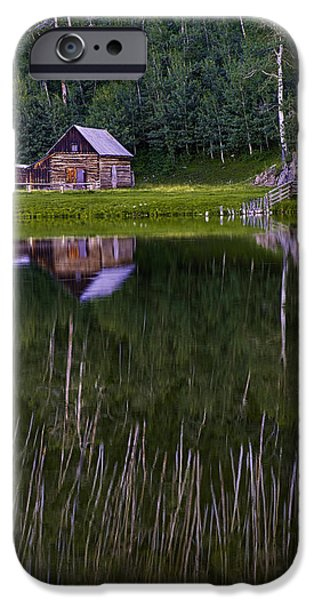 Pines iPhone Cases - Colorado Cabin Lake Reflections vertical iPhone Case by Dave Dilli