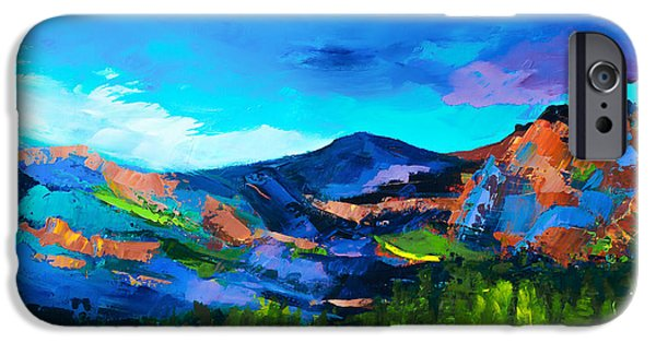 Vivid Colour Paintings iPhone Cases - Colorado Hills iPhone Case by Elise Palmigiani