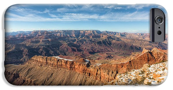 Wintertime iPhone Cases - Colorado River and the Grand Canyon iPhone Case by Clarence Holmes