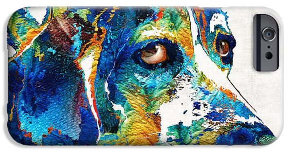 Beagles iPhone Cases - Colorful Beagle Dog Art by Sharon Cummings iPhone Case by Sharon Cummings
