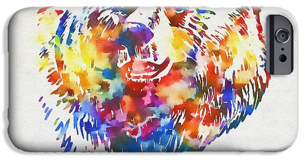 Colorful Abstract iPhone Cases - Colorful Bear Art iPhone Case by Olga Hamilton