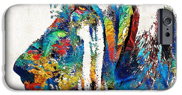 Police Dog iPhone Cases - Colorful Bloodhound Dog Art By Sharon Cummings iPhone Case by Sharon Cummings