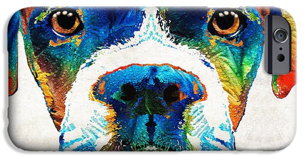 Dog iPhone Cases - Colorful Boxer Dog Art By Sharon Cummings  iPhone Case by Sharon Cummings