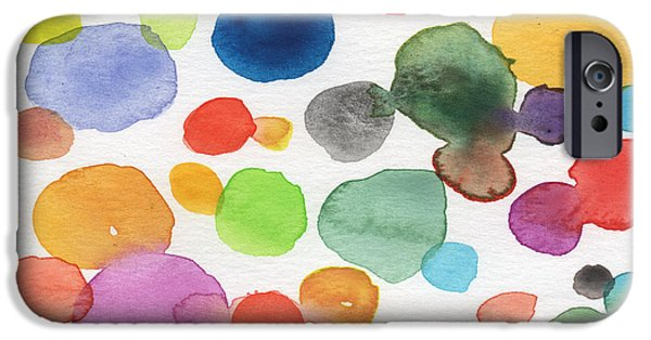 Contemporary Abstract iPhone Cases - Colorful Bubbles iPhone Case by Linda Woods