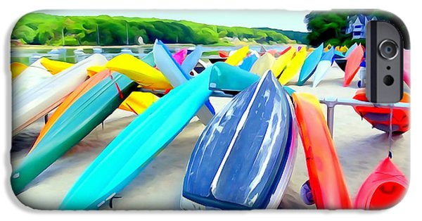Boat iPhone Cases - Colorful Canoes iPhone Case by Ed Weidman
