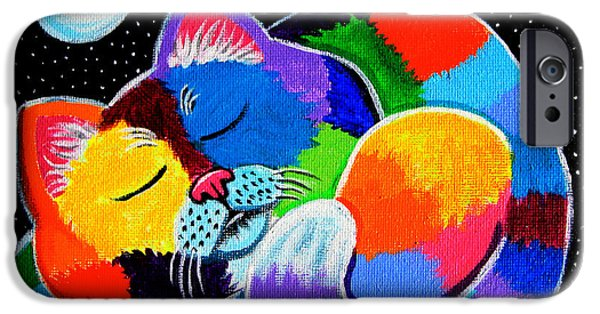 Night Time iPhone Cases - Colorful Cat in the Moonlight iPhone Case by Nick Gustafson