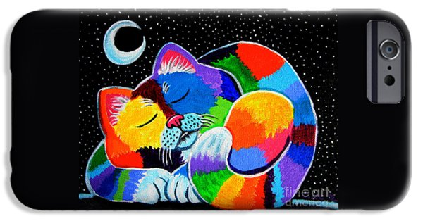 Childrens Art iPhone Cases - Colorful Cat in the Moonlight iPhone Case by Nick Gustafson