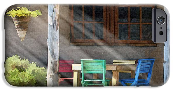 Table Wine Digital Art iPhone Cases - Colorful Chairs iPhone Case by Sharon Foster