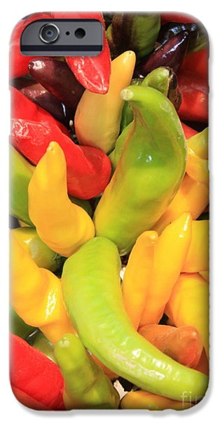 Hot Peppers iPhone Cases - Colorful Chili Peppers  iPhone Case by Carol Groenen