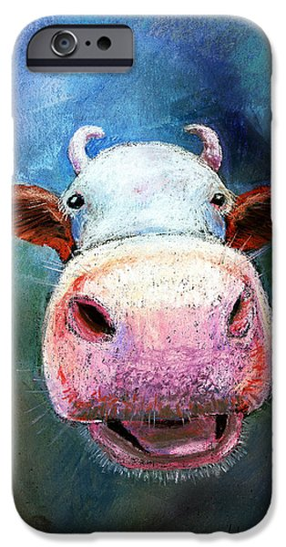 Cow Humorous iPhone Cases - Colorful Cow  iPhone Case by Arline Wagner