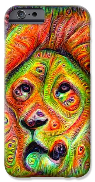 Google Mixed Media iPhone Cases - Colorful crazy lion deep dream iPhone Case by Matthias Hauser
