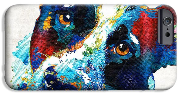 Dog Rescue iPhone Cases - Colorful Dog Art - Irresistible - By Sharon Cummings iPhone Case by Sharon Cummings